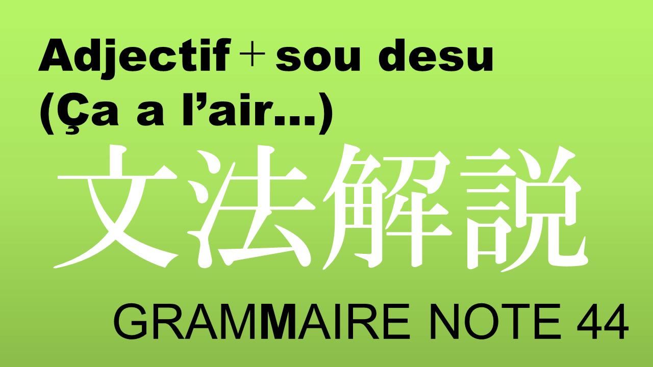 Adjectif+sou desu (Ça a l'air…)